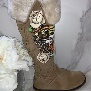 ED HARDY AUTHENTIC SUEDE BOOTS